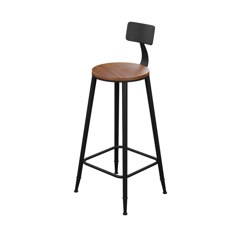 Furniture Bar Stools Creative Industrial Vintage Antique Bar Stool Height 66.5cm Round Seat Wooden Loft Style Furniture Counter Bar Stool 3 Leg Solid Wood