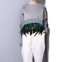 2016 autumn new splicing detachable feather cocoon style asymmetric long sleeve sweatshirts women apparel FS0170