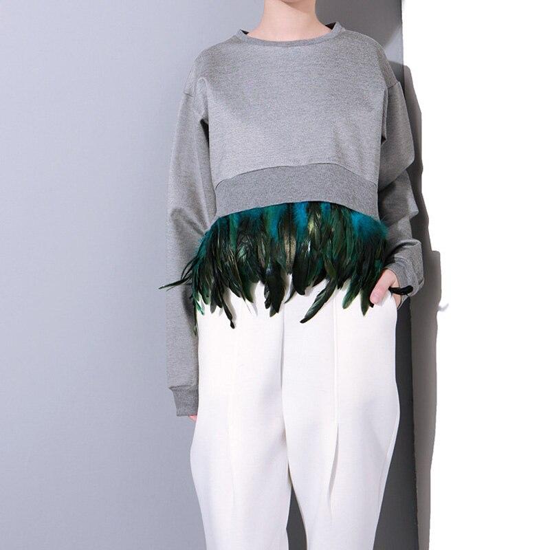 2019 Autumn New Splicing Detachable Feather Cocoon Style Asymmetric Long Sleeve Sweatshirts Women Apparel FS0170