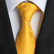Stylish Design Neck Ties 8cm Classic Formal Yellow Paisely Tie High Quality Fashion Gentlemen Woven Gravata for Adult w14