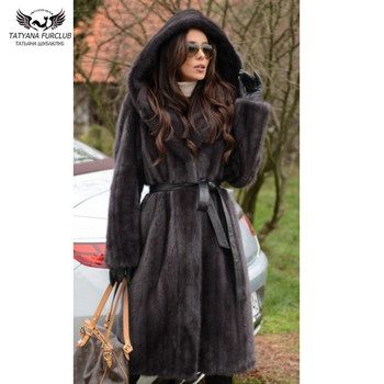 Tatyana furclub Mink Fur Coat Winter Jacket For Women Fashion Outwear Thick Warm Long Parkas With Hood 100% Real Parka