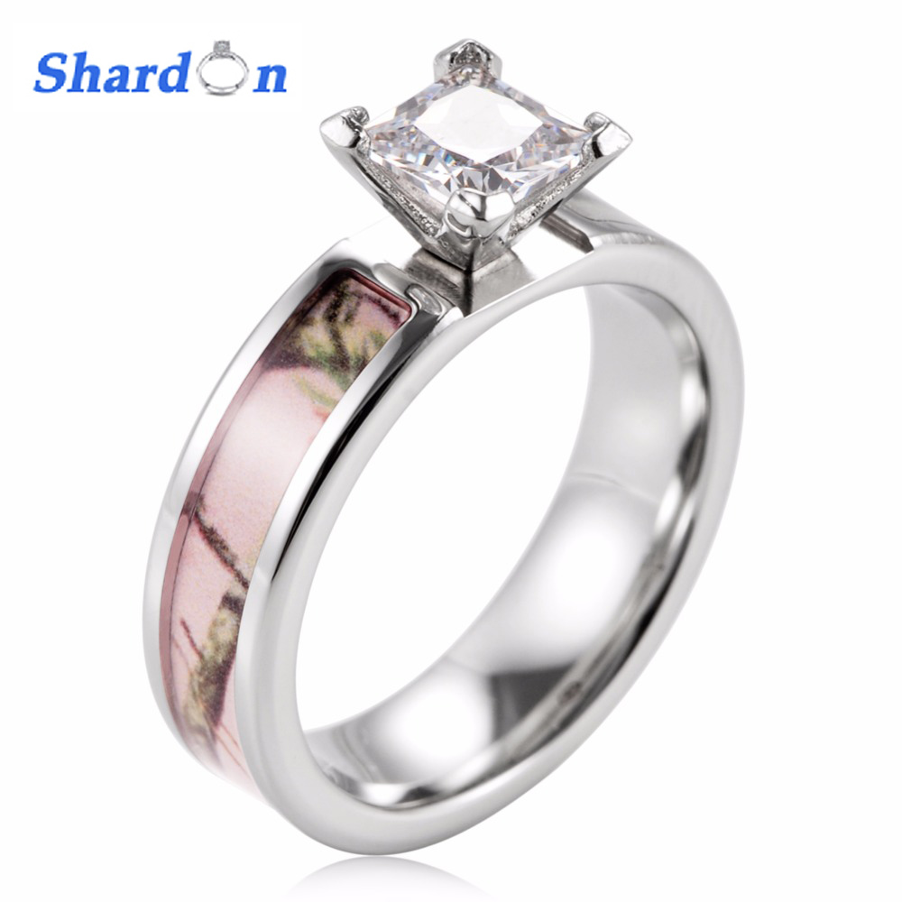 Pink Camo Wedding Rings: SHARDON Ladies Camo Engagement Ring Pink Real Tree