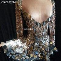 Блестящие стеклами блесток юбка костюмы Длинные рукава цельнокроеное платье для взрослых для выступления Одежда для танцев Женская Экипир