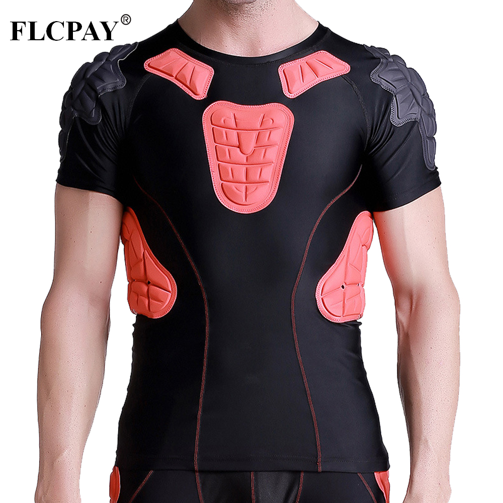Men's Padded Compression Shirt Protective T Shirt Rib Chest Protector For Football Paintball Baseball