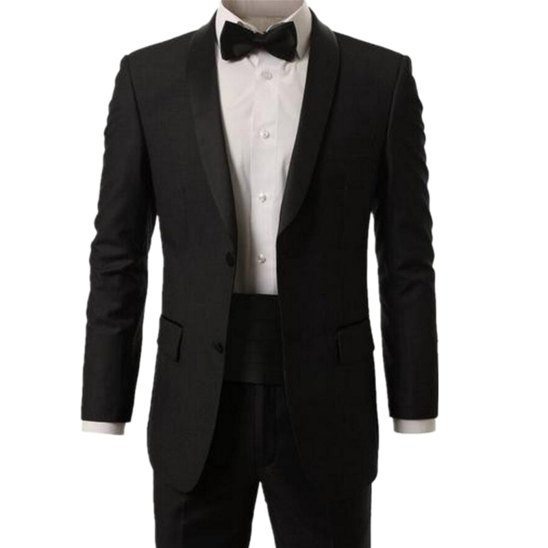 US $100.0  Nuovi Abiti Da Ballo uomo Moderno Vestito a due Pezzi Collo Sciallato Smoking di Alta Qualità sposo Tuxedo abiti (giacca + pants + tie) in