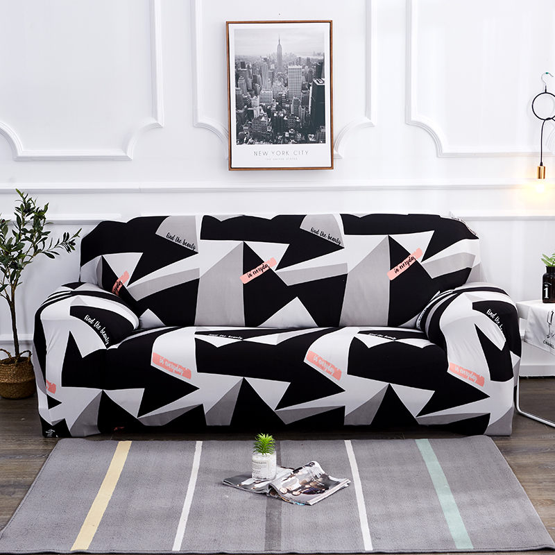 US $5.68 34% OFF|Black white grey 1/2/3/4 seater Sofa cover Tight wrap all  inclusive sectional elastic seat sofa covers couch Covering Slipcovers-in  ...