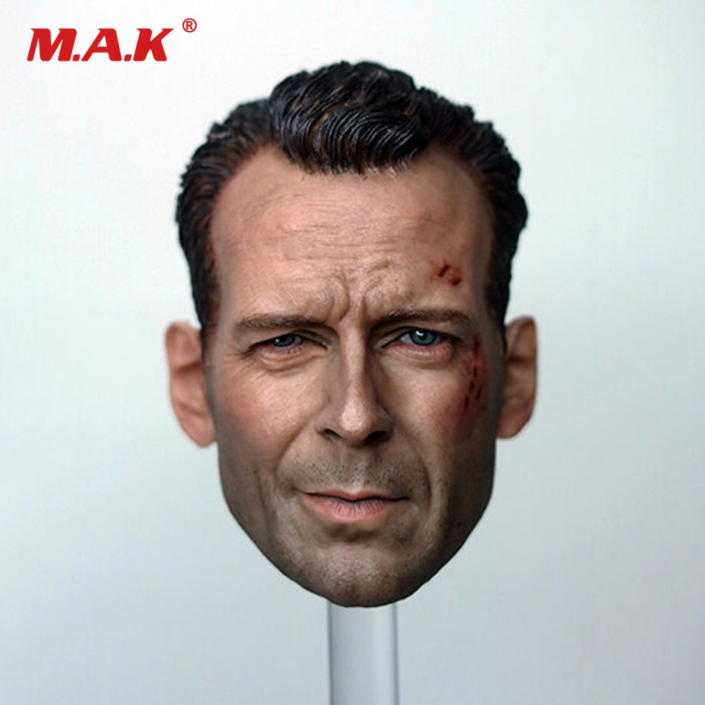 1/6 Male Head Sculpt Model Movie Star Bruce Willis Carving Wounded High Quality For 12 Male Action Figure walking wounded
