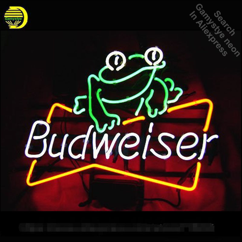 Neon Sign for Budweiser Frog neon bulb Sign Garage neon lights Sign glass Tube Handcraft Art Iconic Sign Display illuminated
