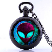 2016 Wholesale UFO Alien Pocket Watch Necklace Outer Space Science Accessories Collection