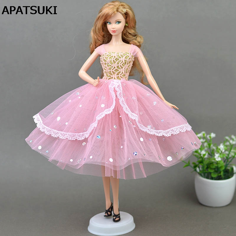 High Quality Romantic Pink Doll Dresses Evening Dress Pakaian untuk Barbie Doll Untuk 1/6 BJD Doll House Hadiah Aksesori Doll
