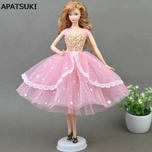 High Quality Romantic Pink Doll Dresses Evening Dress Clothes for Barbie Doll For 1 6 BJD