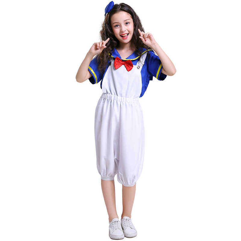Kids Cute Duck Navy Sailor Costumes Cosplay For Girls and Boys Halloween Game Stage Bar Costume