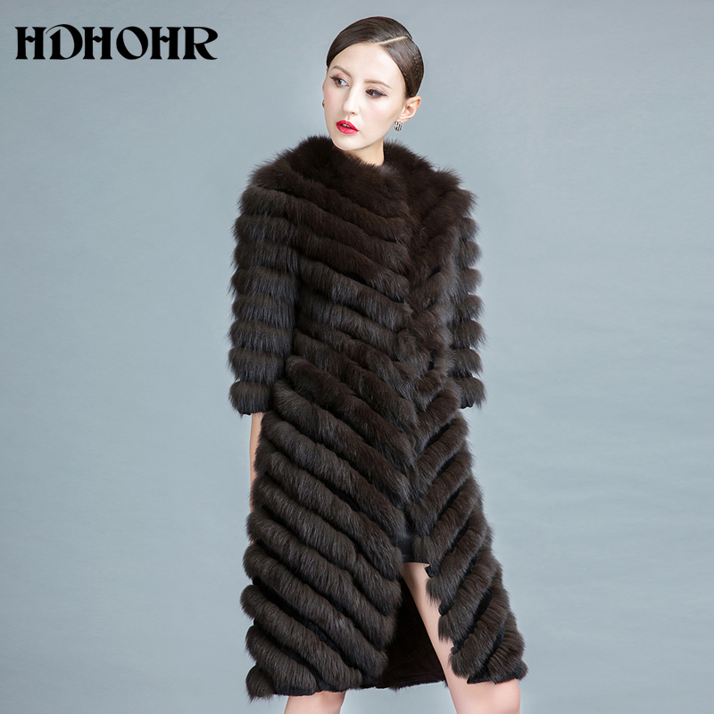 HDHOHR 2019 High Quality Long Fox Fur Coat Women Winter Natural Fox Jackets 100% Real Fur Coat With Belt  Fishion Luxury Outwear