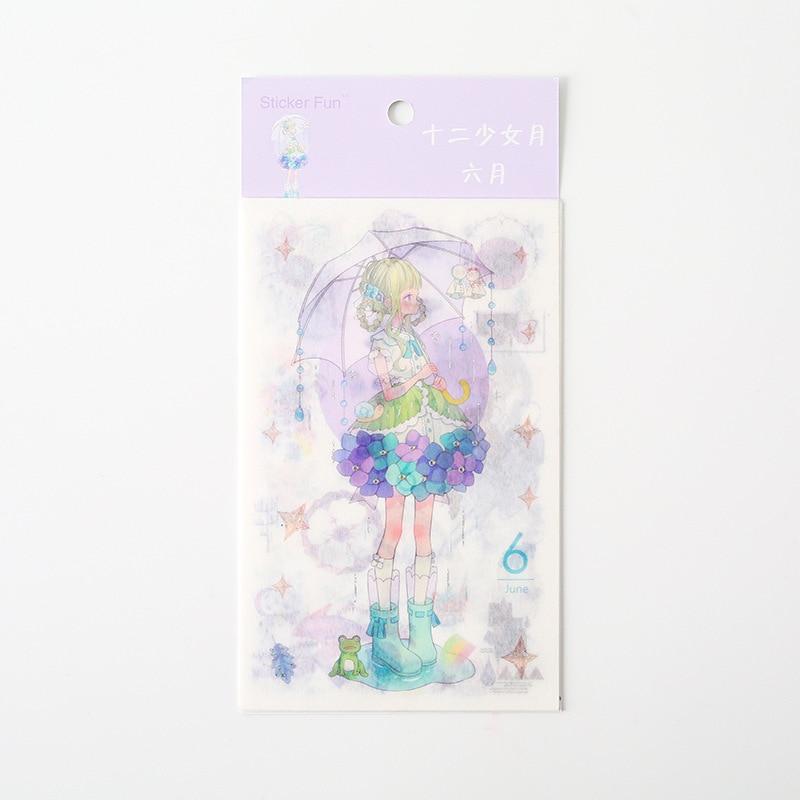 Kawaii Милая наклейка для девочки в стиле декабрина и ветра, декоративная наклейка для ноутбука, декоративная наклейка для рисования, канцелярские товары - Цвет: 6