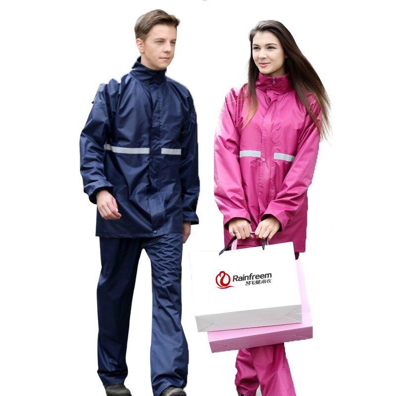 Outdoor double layer reflective strip men women raincoat coat pants suit sports riding fishing camping climbing rain gear poncho