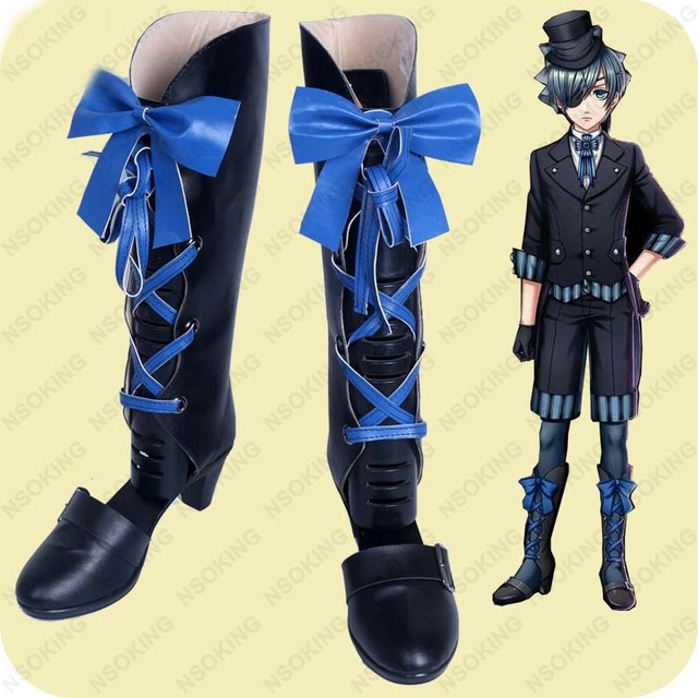Black Butler Book of the Atlantic Ciel Cosplay Shoes Boots Custom Made