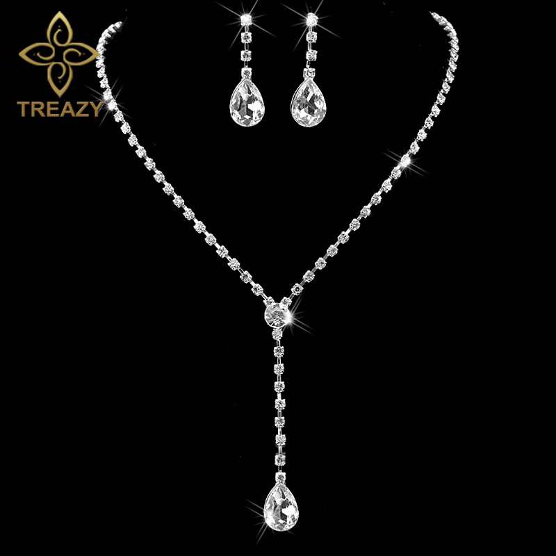 TREAZY Celebrity Inspired Style Crystal Teardrop Long Necklace Earrings Set  Silver Color Wedding Bridal Bridesmaid Jewelry Set f0298acbf760
