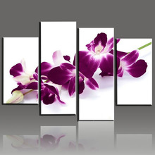 Modern Canvas Living Room Pictures Home Decor 4 Panel Deep Pink Orchid Painting Wall Art Modular Poster Framework HD Printed