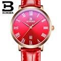 Mulheres relógios de luxo da marca suíça BINGER B9020-3 ultrafinos relógios de Pulso de quartzo com pulseira de couro À Prova D' Água 1 anos de Garantia