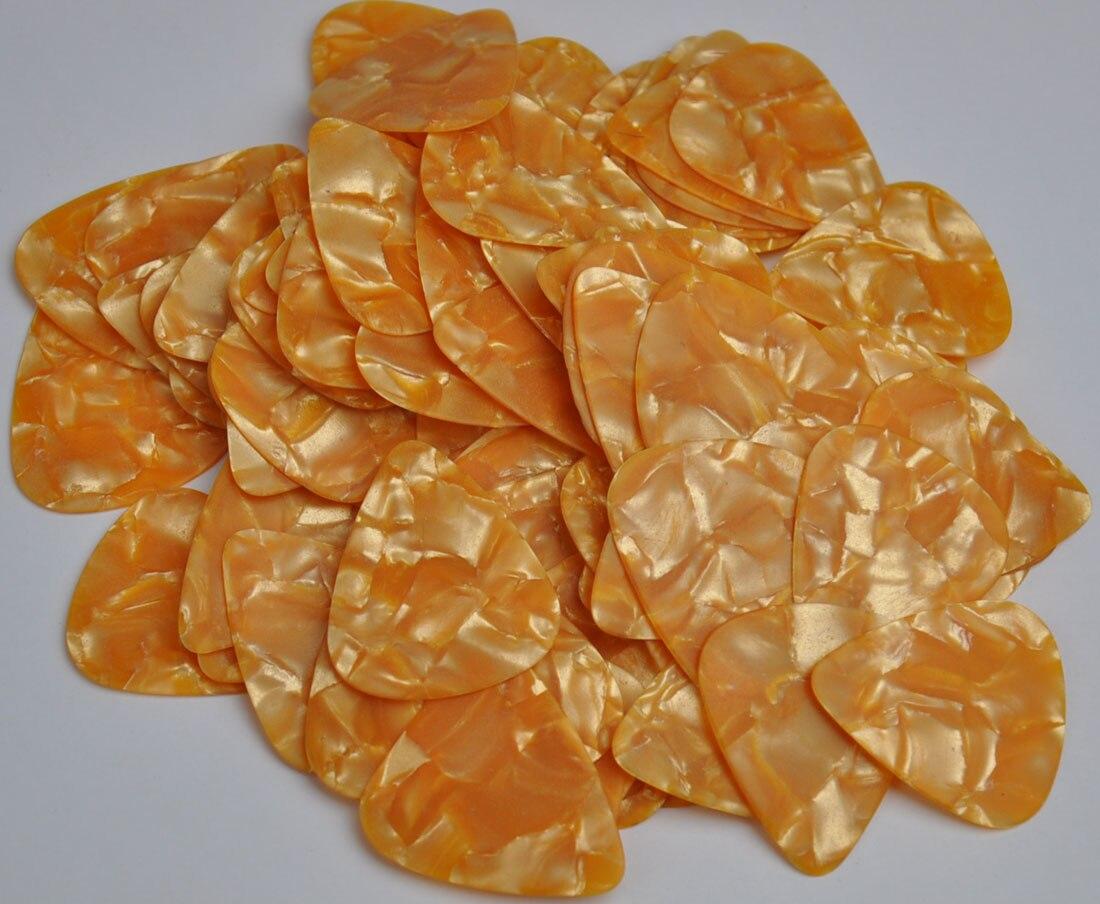 50 pcs new medium 0.71 mm Blank guitar picks Celluloid Pearl Orange