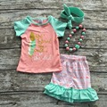 Summer baby child  girls outfits ruffles capris coral aztec feather cotton boutique clothes kids  matching necklace and headband
