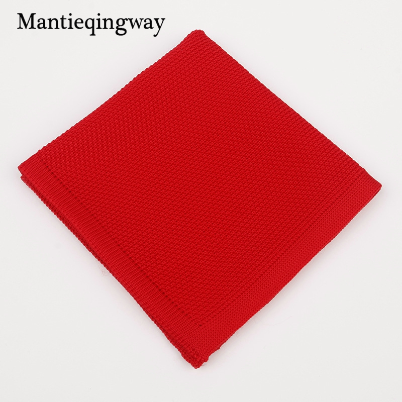 Mantieqingway Polyester Pocket Square For Men Knitted Wedding Handkerchief Male Knitted Pocket Chest Towel Casual Hankies