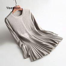 Yeeshan длинный свитер 2017, женская обувь круглым вырезом Mujer свитер черный, белый цвет верблюд элегантный с длинным рукавом Invierno кашемир женские джемперы