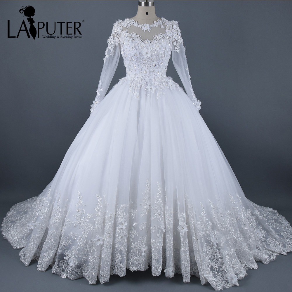 Real photos ball gown wedding dress 2017 vintage long for Wedding dresses with sleeves 2017