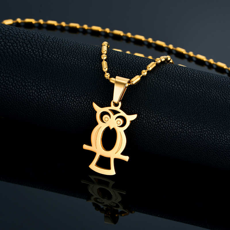Personalized Owl Necklace Gold Bead Chain Stainless Steel Pendant For Women/Men Birthday Gift