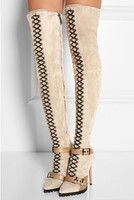 2016 Beige Black Suede Ostrich Leather Over The Knee Boots For Women Lace Up Buckle Rubber