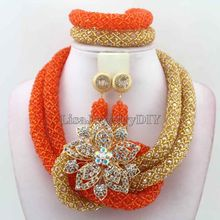 Luxury Orange African Beads Wedding Necklace Set Chunky Nigerian African Set Jewelrys 18K Gold Plated New Free Shipping HD7545