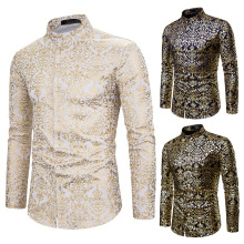 Mens shirt, printed long sleeve flower black nightclub