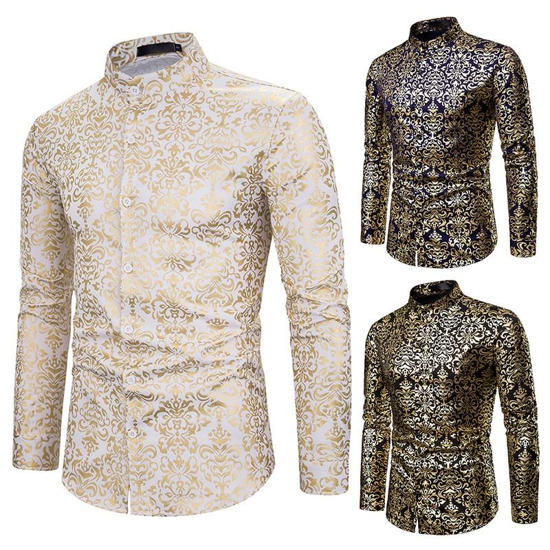 Mens shirt, printed long sleeve flower black nightclub