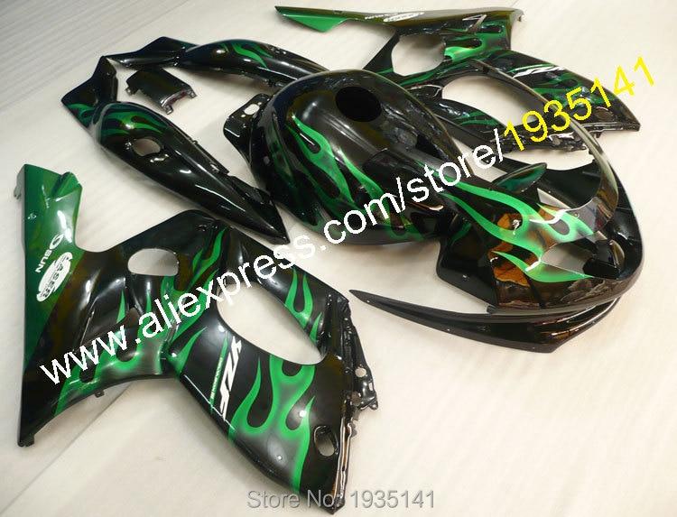 Горячие продаж,для YAMAHA Yzf600R 1997-2007 Громокошку и YZF-600р 97-07 и YZF 600р черное тело зеленое пламя спортивный мотоцикл обтекатель комплект
