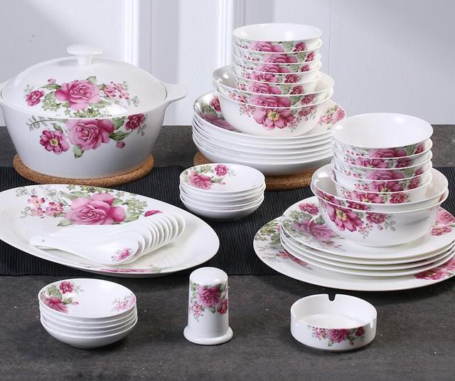 56 Pcs bone china tableware bowl set Chinese style ceramic dinnerware bowls dishes combination set Housewarming & 56 Pcs bone china tableware bowl set Chinese style ceramic ...