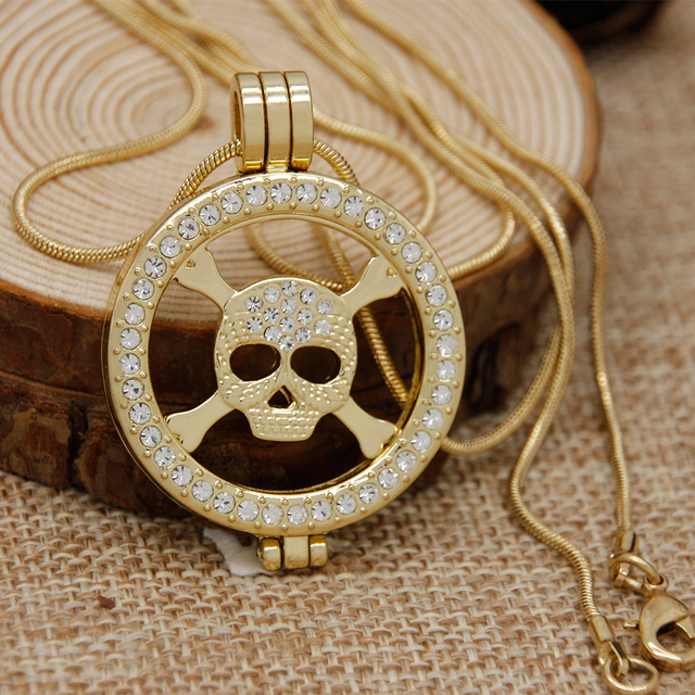 New jewelry gold color skeleton shape my coin with 35mm coin holder new jewelry gold color skeleton shape my coin with 35mm coin holder pendant necklace chain necklaces aloadofball Image collections
