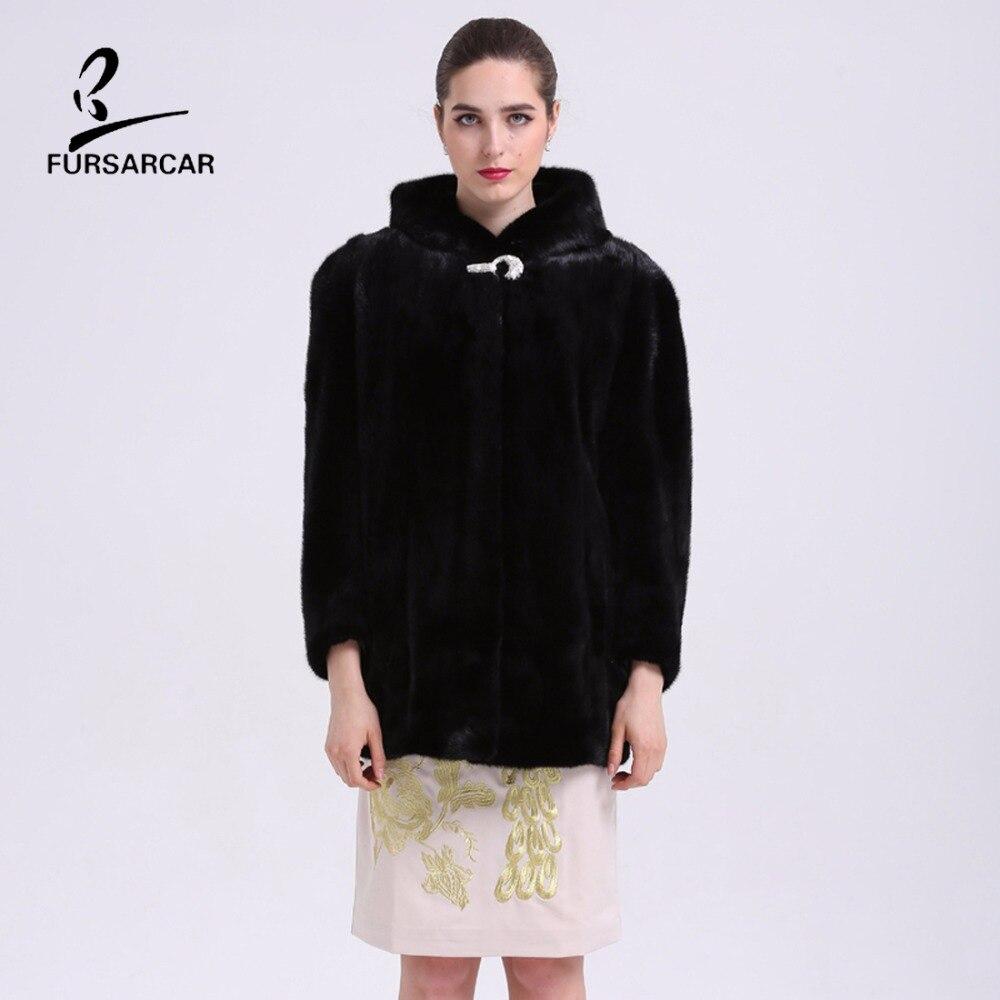 Nyata Natural Mink Fur Musim Dingin Coat Dengan Hooded Untuk Wanita - Pakaian Wanita - Foto 2