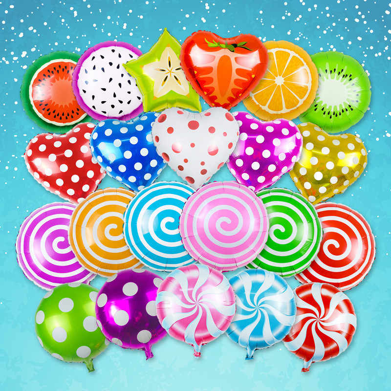 18 inch Fruit Balloons Heart Star Foil Balloon Candy Helium Balloons Birthday Party Decorations Kids Wedding Party Supplies
