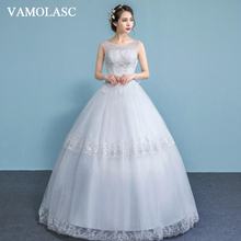 VAMOLASC Illusion Crystal O Neck Ball Gown Tiered Lace Appliques Wedding Dresses Sequined Tank Backless Bridal Gowns