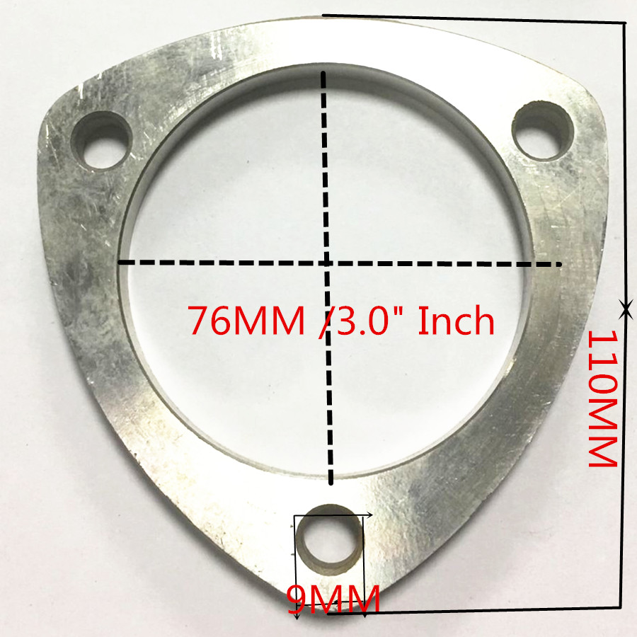 universal 3 bolts stainless steel exhaust pipe flanges gasket 2 51mm hole header down pipe manifold collector gasket flange