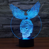 Free Shipping fantastic design 3D DECOR Eagle Skull shape creative night Light cool lamp For Home Decoration