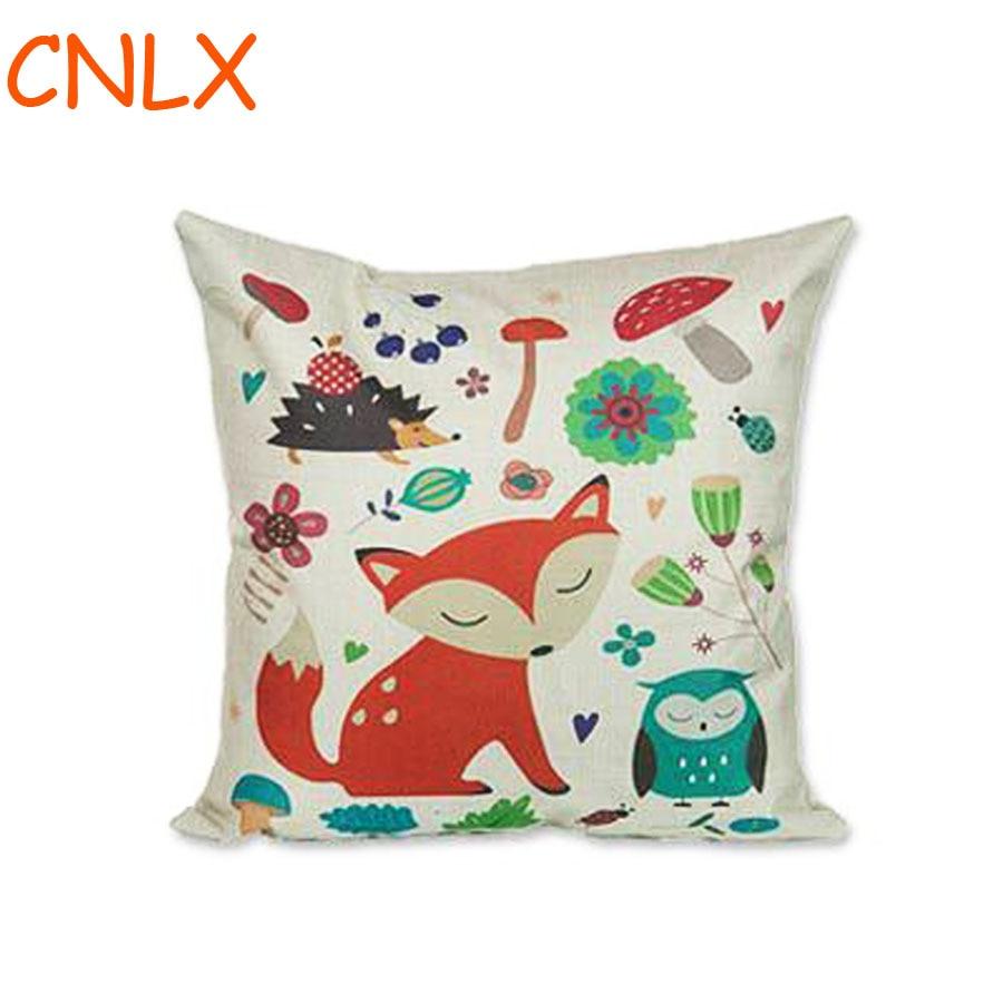 online get cheap kids pillows aliexpresscom  alibaba group - hot selling cute cartoon animal red fox printing linen kids throw pillowkindergarten chair seat waist