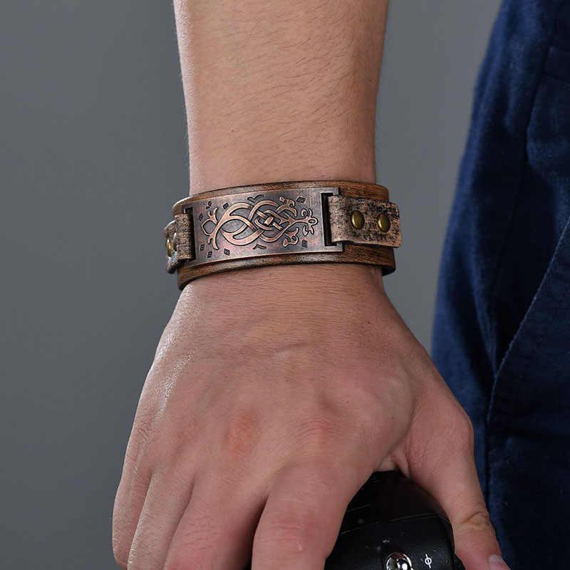 Vintage Steampunk Bracelet en cuir hommes en cuir véritable Bracelets d'enveloppement Bracelets pour hommes Style Punk hommes Bracelets accessoires 2019