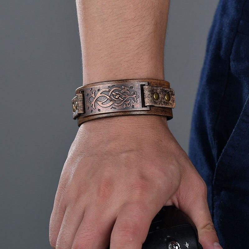 Vintage Steampunk Leather Bracelet Men Genuine Leather Wrap Bracelets Bangles for Men Punk Style Mens Bracelets Accessories 2019