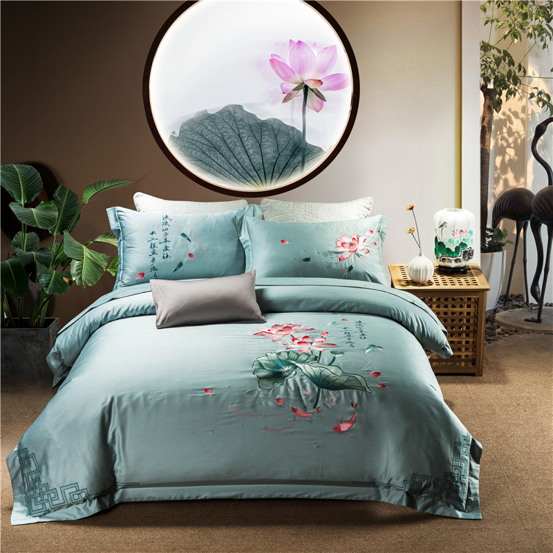Lotus embroidery design bedding sets bed flat sheet duvet cover pillowcase soft egyptian cotton comforter King Queen size 4pcs Lotus embroidery design bedding sets bed flat sheet duvet cover pillowcase soft egyptian cotton comforter King Queen size 4pcs