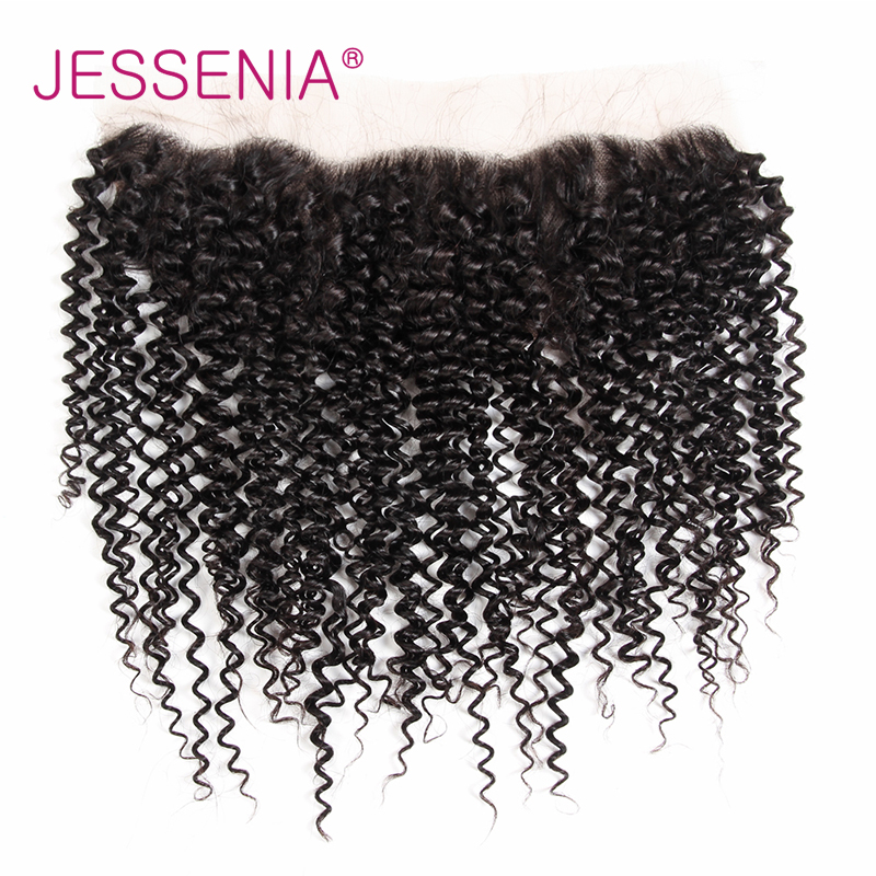 JESSENIA HAIR Brazilian Curly Hair 13*4 Lace Frontal Closure With 3Bundles Remy Human Hair Machine Double Weft Weaving Extension