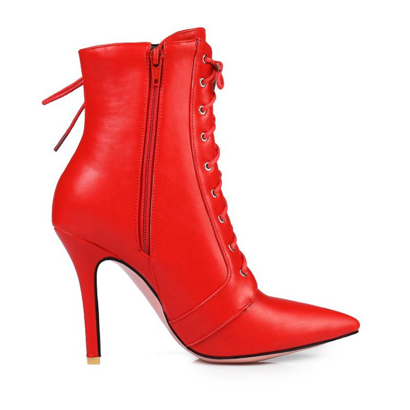 LANYUXUAN Fashion Big size 34-47 short Boots shoes woman Ankle Boots Sexy high Heels Pointed toe Wedding Women Shoes 584