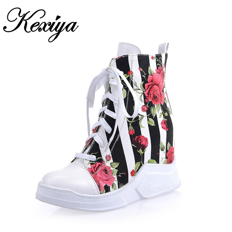 2016 New women winter shoes fashion big size 34-43 Round Toe Platform high heels Height Increasing Lace-Up Ankle boots YZ-321-1 female s lace up bow knot women glitter rivets rome sandal on platform plus size 42 43 round toe girls summer shoes flip flops