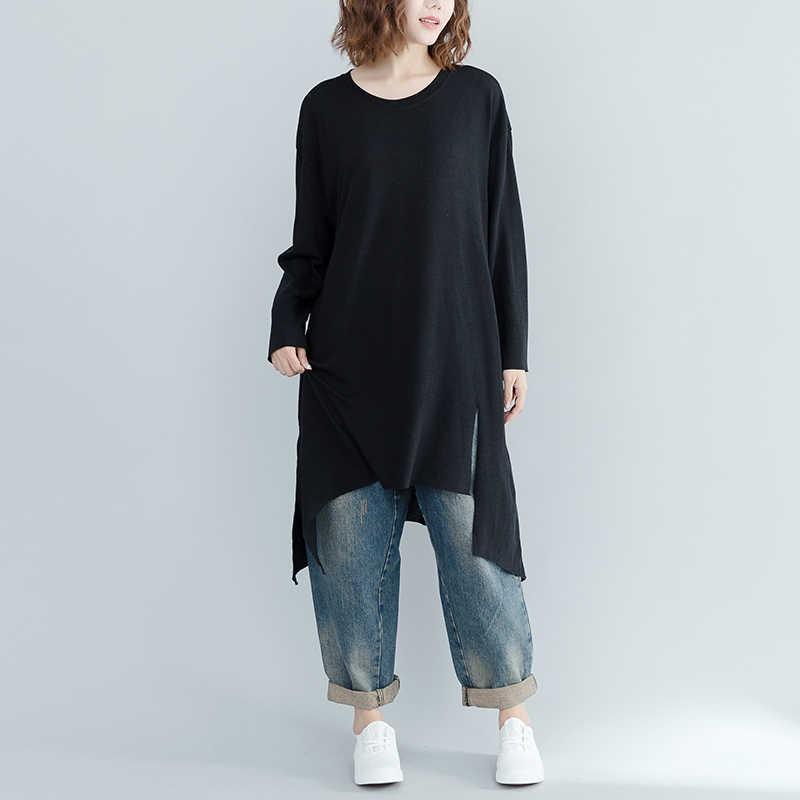 Новинка осени 2019 длинные женские футболки Черный Нерегулярные Большие размеры Свободные Леди Тис топы, верхняя одежда