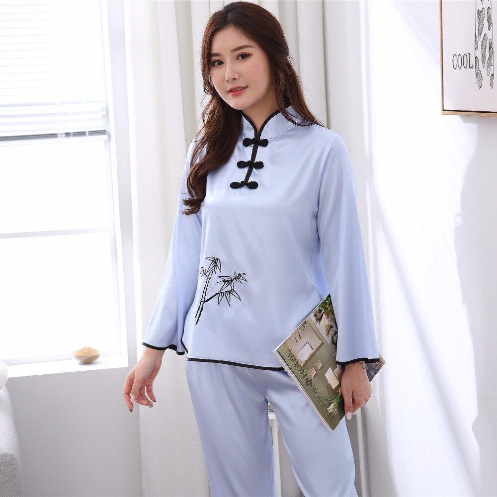2 StÜcke Blau Frauen Sexy Satin Pyjamas Anzug Chinesischen Stil Stickerei Pyjamas Set Frühling Herbst Neue Nachtwäsche Nachtwäsche M-xxl Um Sowohl Die QualitäT Der ZäHigkeit Als Auch Der HäRte Zu Haben